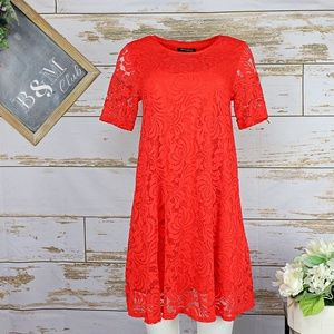 Sharagano Red Shift Dress with Lace Overlay NWOT